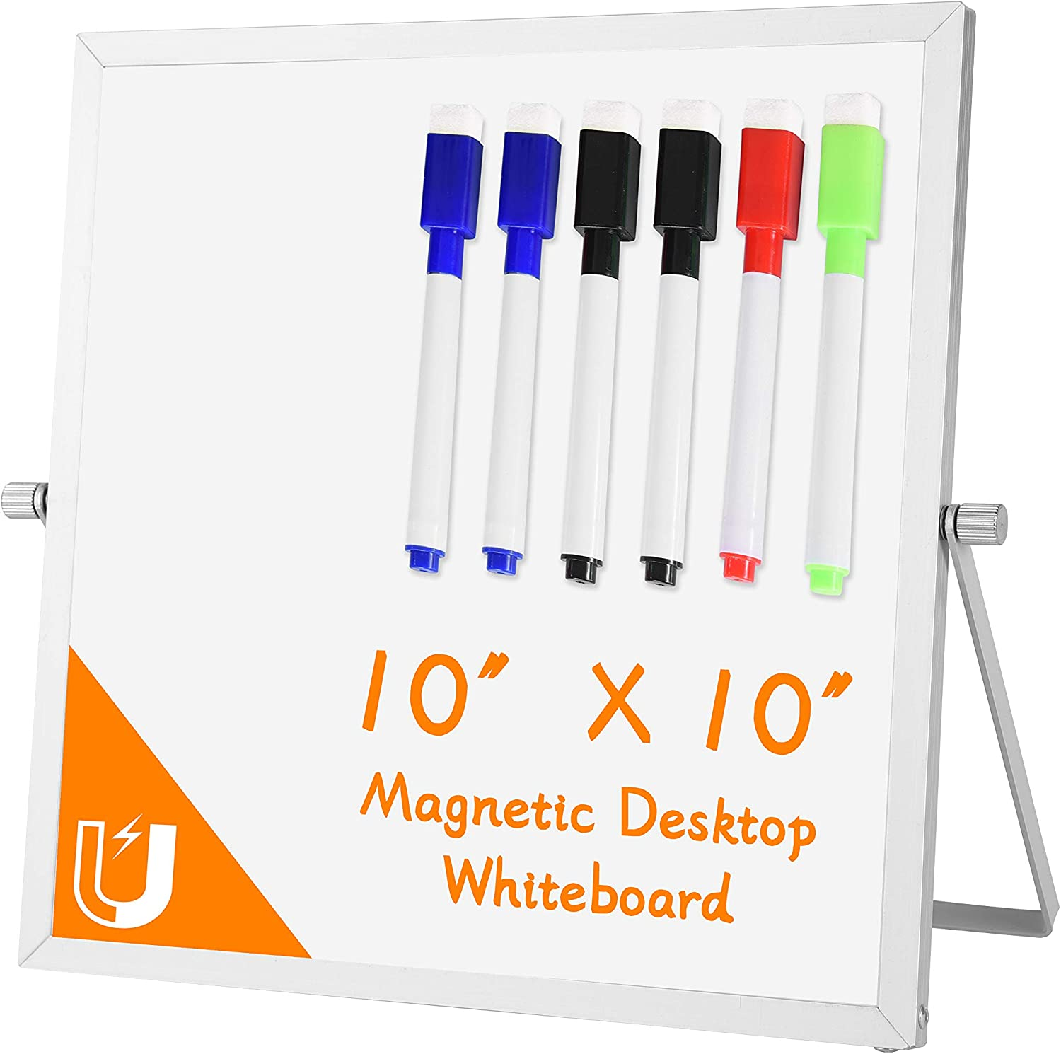 "Small Dry Erase Board Whiteboard – Desktop Portable Mini White Board Desk Easel 10""x 10"", 360 Degree Reversible to Do List Notepad for Office, Home, School. …"