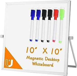 "Small Dry Erase Board Whiteboard – Desktop Portable Mini White Board Desk Easel 10""x 10"", 360 Degree Reversible to Do List Notepad for Office, Home, School. …"