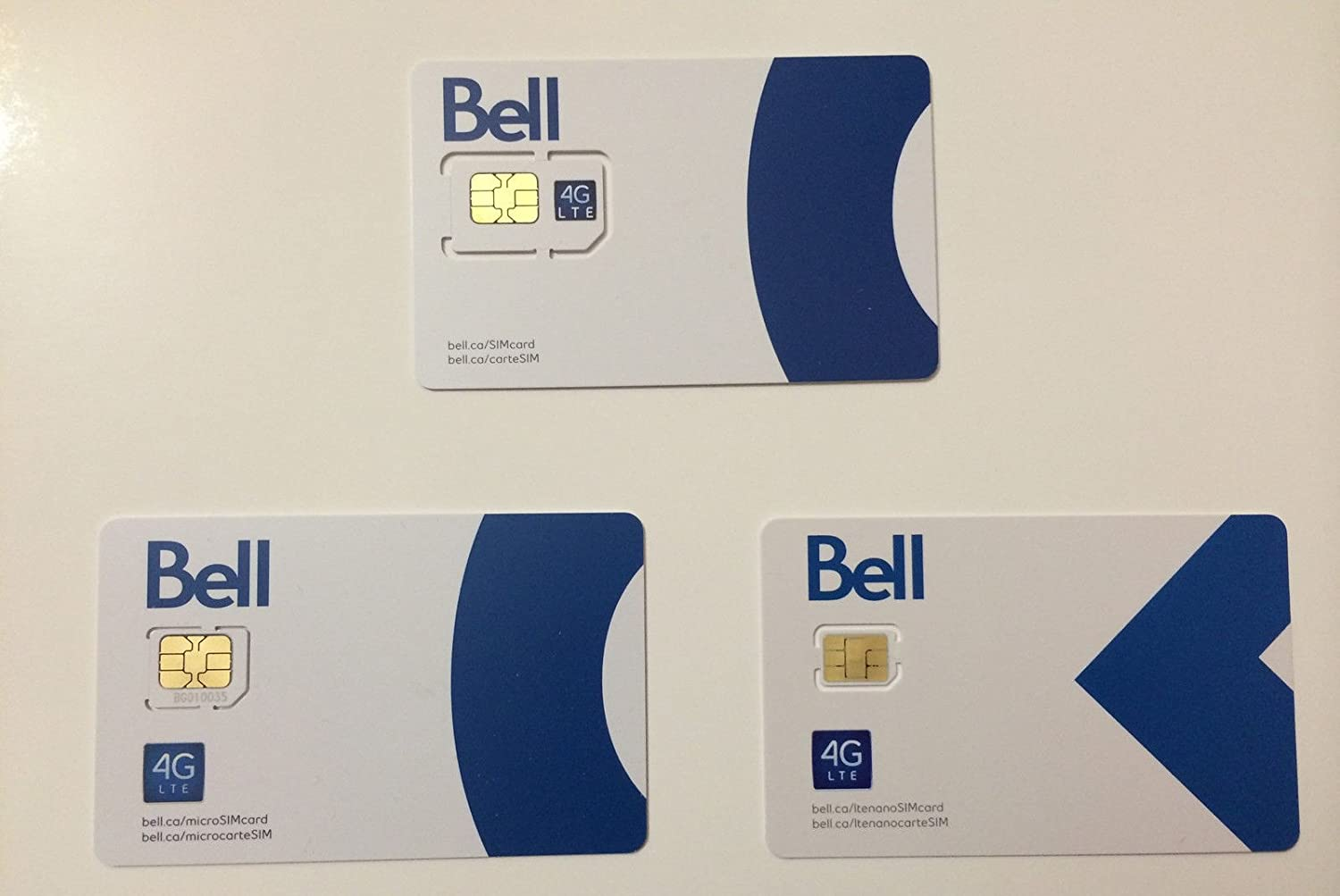 Bell Mobility SIM Cards (Nano + Micro + Regular Sized)