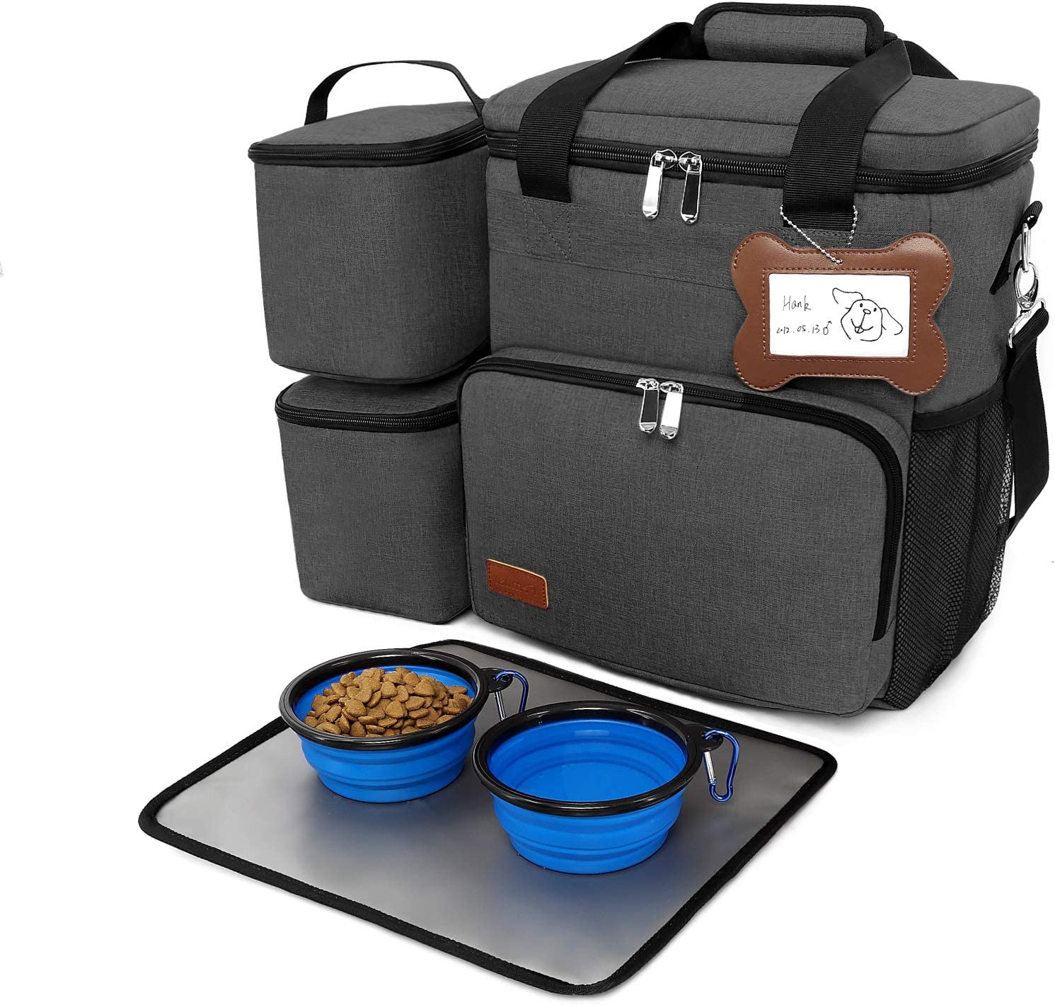Femuar Dog Travel Bag - Airline Approved Dog or Cat Accessories - Weekend Pet Travel Gear Bag for Hiking Camping Trip - Multifunction Pockets, 2X Food Container Bags & 2X Collapsible Travel Dog Bowls