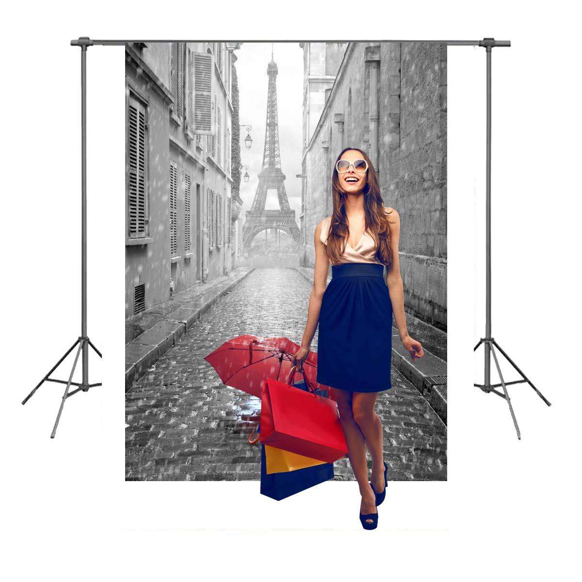 写真撮影用背景幕 7x5フィート エッフェル塔 結婚式 パーティー フォト背景 赤い傘 雨 パリ 街 写真 スタジオ 小道具 背景 FT006   B07PJMNLPT