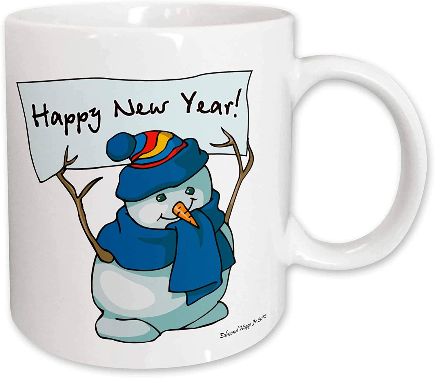 3dRose Happy New Year Snowman Ceramic Mug, 15-Ounce