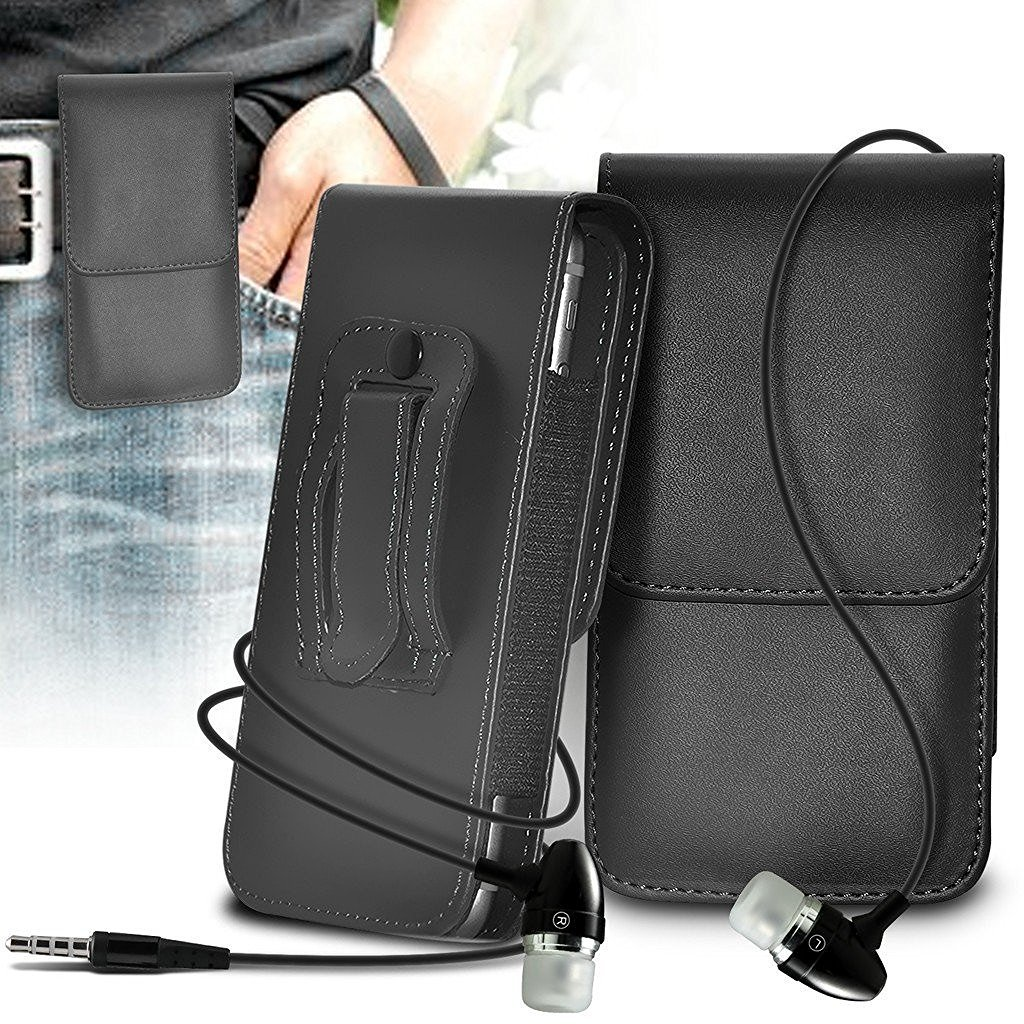 ZTE Blade v8 Pro Case Faux Leather Belt Holster Pouch Cover, Includes Stereo Aluminium Earphones