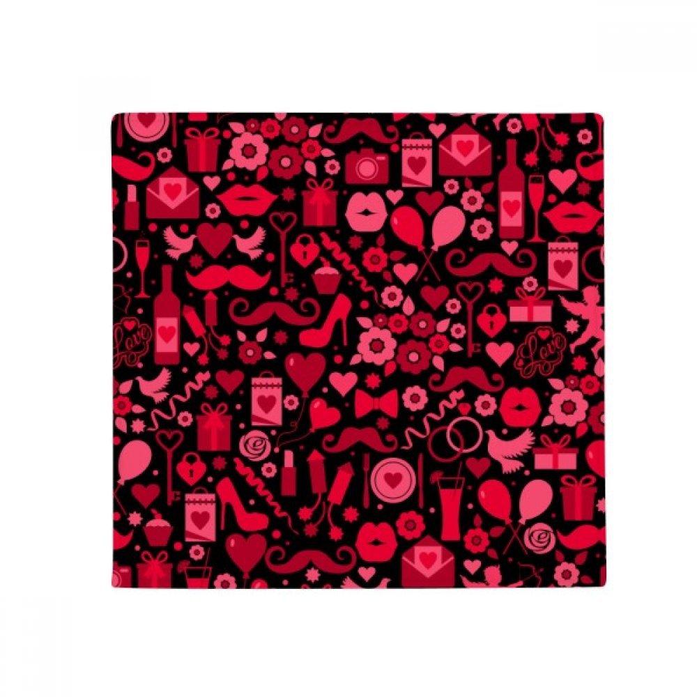 DIYthinker Black Pink Hearts Lips Valentine's Day Anti-Slip Floor Pet Mat Square Home Kitchen Door 80Cm Gift