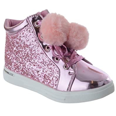 6db431471e1c Kids Girls Childrens POM POM Fur Trainers Pumps Sneakers HIGH TOP Boots  Size 8-10