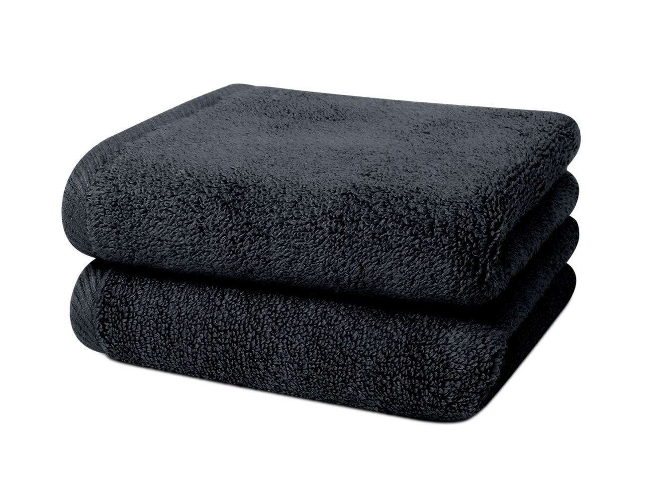 "Black Salon Hand Towels 2 Pack– 100% Ring Spun Cotton, Maximum Absorbency, Super Soft, Ultra Plush - For Hair Drying, Face, Hands, Body or Gym - 16"" x 27"" - HairDay Care"