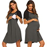 Ekouaer 3 in 1 Nursing Nightgowns for Breastfeeding Delivery Labor Maternity Hospital Gown with Both Side Zipper