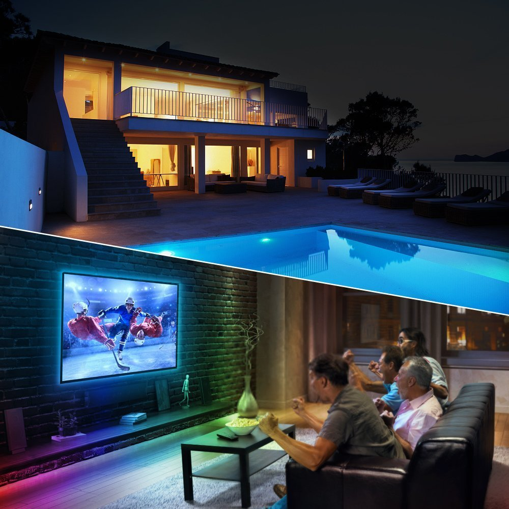 Guaiboshi 10M Tiras de Luz LED Strip RGB 5050 SMD 600 LEDs DIY Stripes Flexible con 24V Adaptador de Alimentación + 44 Mando a Distancia Clave + Receptor Kit para casa, jardín, decoración [Clase energética A +]