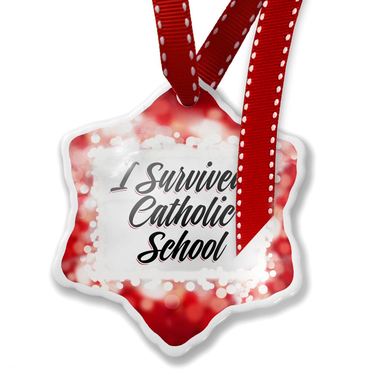 Christmas Ornament Vintage Lettering I Survived Catholic School, red - Neonblond