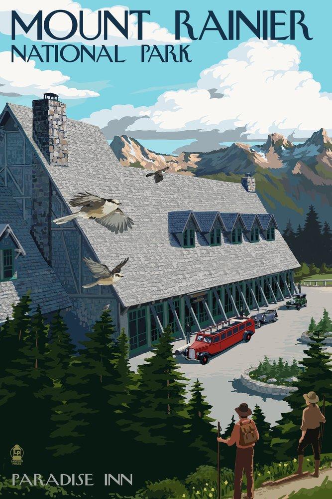 Mount Rainier National Park – Paradise Inn 36 x 54 Giclee Print LANT-42046-36x54 36 x 54 Giclee Print  B017E9XJDY