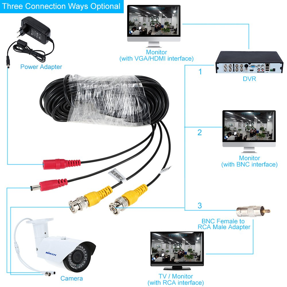 KKmoon Paquete 4 Cable Siamés 65ft BNC Conector DC Fuente Video para DVR Cámara CCTV: Amazon.es: Electrónica