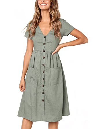 eb262d76c85 Salimdy Women s Dresses-Short Sleeve V Neck Button T Shirt Midi Skater Dress  with Pockets