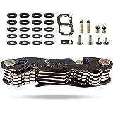 Keytec Kompakter Schlüssel-Organizer, Zinklegierung–inkl. Flaschenöffner und Smartphone-Ständer –Organizer für bis zu 12 Schlüssel –Geschenkbox (Erweiterungskit & Haken im Lieferumfang enthalten) Schwarz