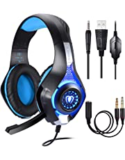 Samoleus Cascos Gaming PS4 Xbox One PC, Gaming Auriculares con Microfono, Cascos Gamer, Headset Cascos Jack 3.5mm con Playstation 4, Switch, PC, Laptop, Tablet, Móvil(Blue)