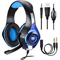 BlueFire Stereo Gaming Headset for PlayStation 4 PS4, Over-Ear Headphones With Mic and LED Lights for Xbox One, PC, Laptop (Blue)
