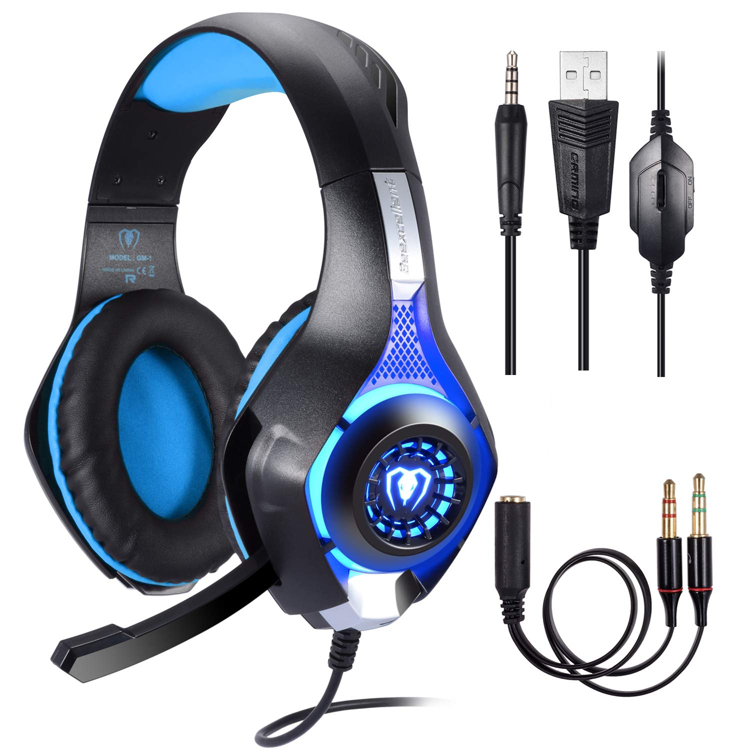 BlueFire Professional 3.5mm PS4 Gaming Headset Headphone with Mic and LED Lights for Playstation 4, Xbox one,Laptop, Computer Blue