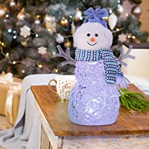 pearlstar Light up Snowman Christmas Ornament 8.5 inch Battery Operated Acrylic Crystal Effect Table Piece with Color Changing Light for Home Decoration (Blue Hat)