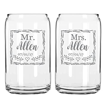 Amazon Two Engraved Beer Can Glasses For The Bride And Groom Mr