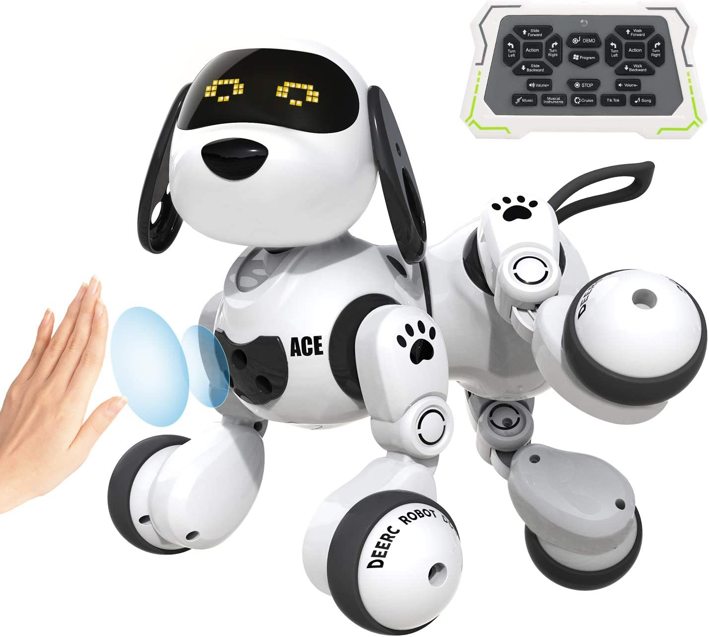 DEERC Robot Toys for Kids Remote Control Programmable Robot Dog Smart RC Robot with Gesture Sensing,Robotic Kit with LED Eyes,Walking,Talking,Singing,Dancing,Interactive Gift for Boys and Girls