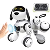 DEERC Remote Control Dog Robot Toys for Kids Programmable Smart RC Robot with Gesture Sensing,Robotic Kit with LED Eyes,Walki