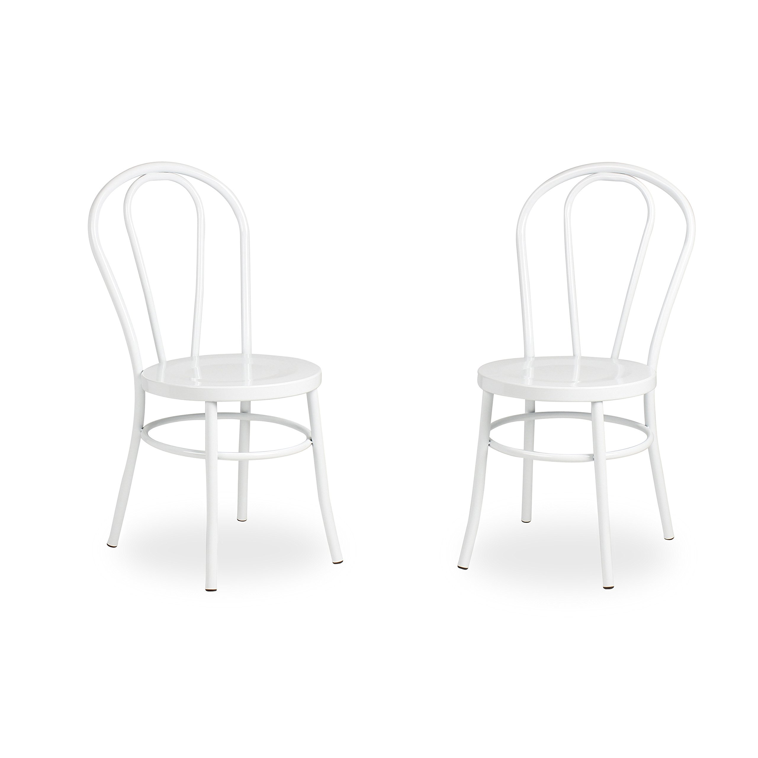 Kate and Laurel Twain Vintage Modern Metal Accent Dining Chairs, Set of 2, White