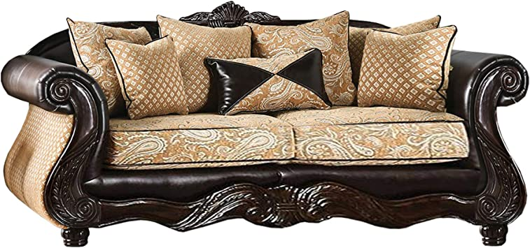 Amazon.com: Benjara Fabric And Leatherette Wooden Sofa With Rolled Arms, Gold And Brown: Furniture & Decor