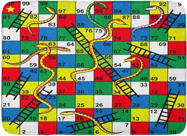 Alfombras de baño Alfombras de baño Alfombra de puerta para exterior / interior Colorido Niño Serpientes y escaleras Juego de mesa Inicio Finalizar Número de rompecabezas Decoración de baño Alfombra A: Amazon.es: