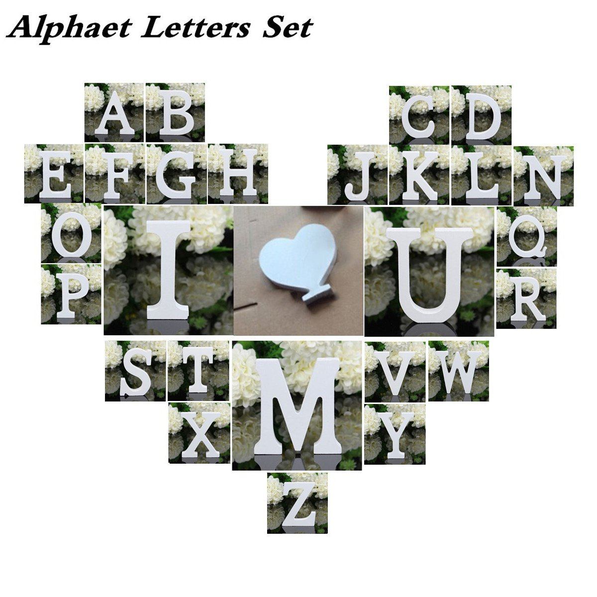 Totoo Decorative Wood Letters Set, 28 Pcs from A-Z with Hear and & for Children Baby Name Girls Bedroom Wedding Brithday Party Home Decor-Letters by Totoo