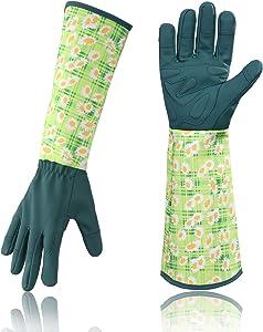 Geloo Women Professional Long Sleeve Trim Gardening Gloves, Garden Gloves (Green)