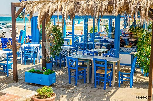 Desconocido druck-shop24 - Fotografía sobre Lienzo, diseño de Restaurante romántico con Cadenas Azules, Greece #89940257, Lona, 3:2-60 x 40 cm / 40 x 60 cm: Amazon.es: Juguetes y juegos