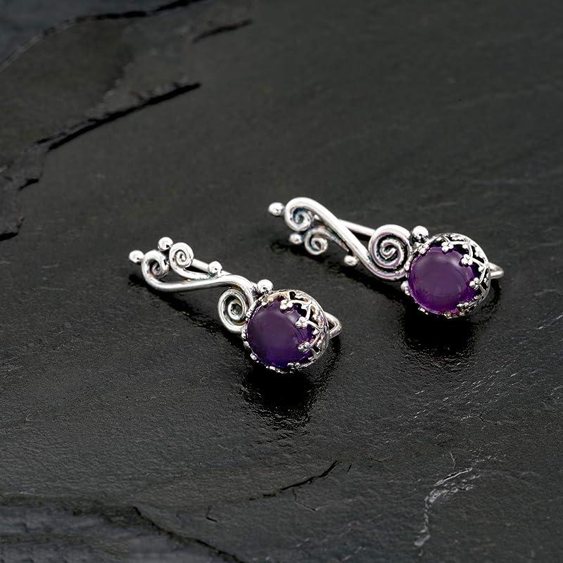 February Birthstone Earrings Purple Amethyst Ear Sweeps Ear Climbers Genuine Amethyst Beads Small Ear Sweeps