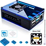 Miuzei Black Raspberry Pi 3 B+ Case with Fan, 3 Pcs Heatsinks and Stable 2.5A Power Supply for Rapsberry Pi 3 Model B+ / 3/3 Model B / 2/2 Model B Pi 4 case/Blue
