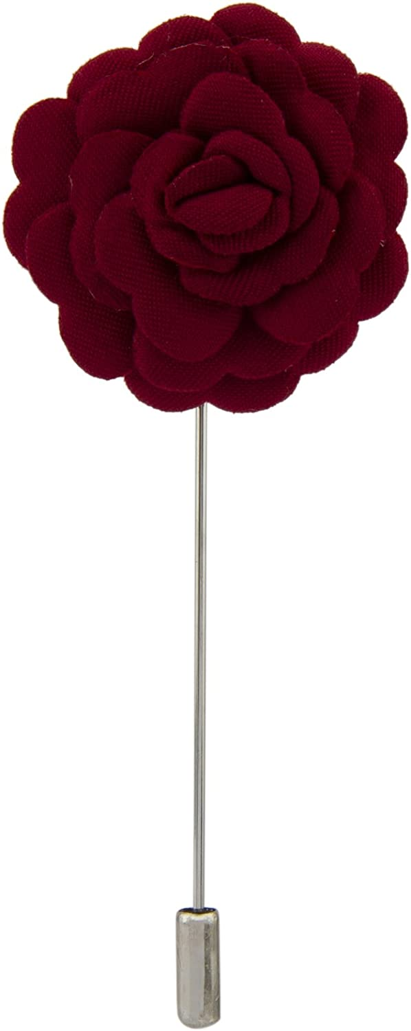 Knighthood Men's Flower Lapel Pin/Brooch Maroon