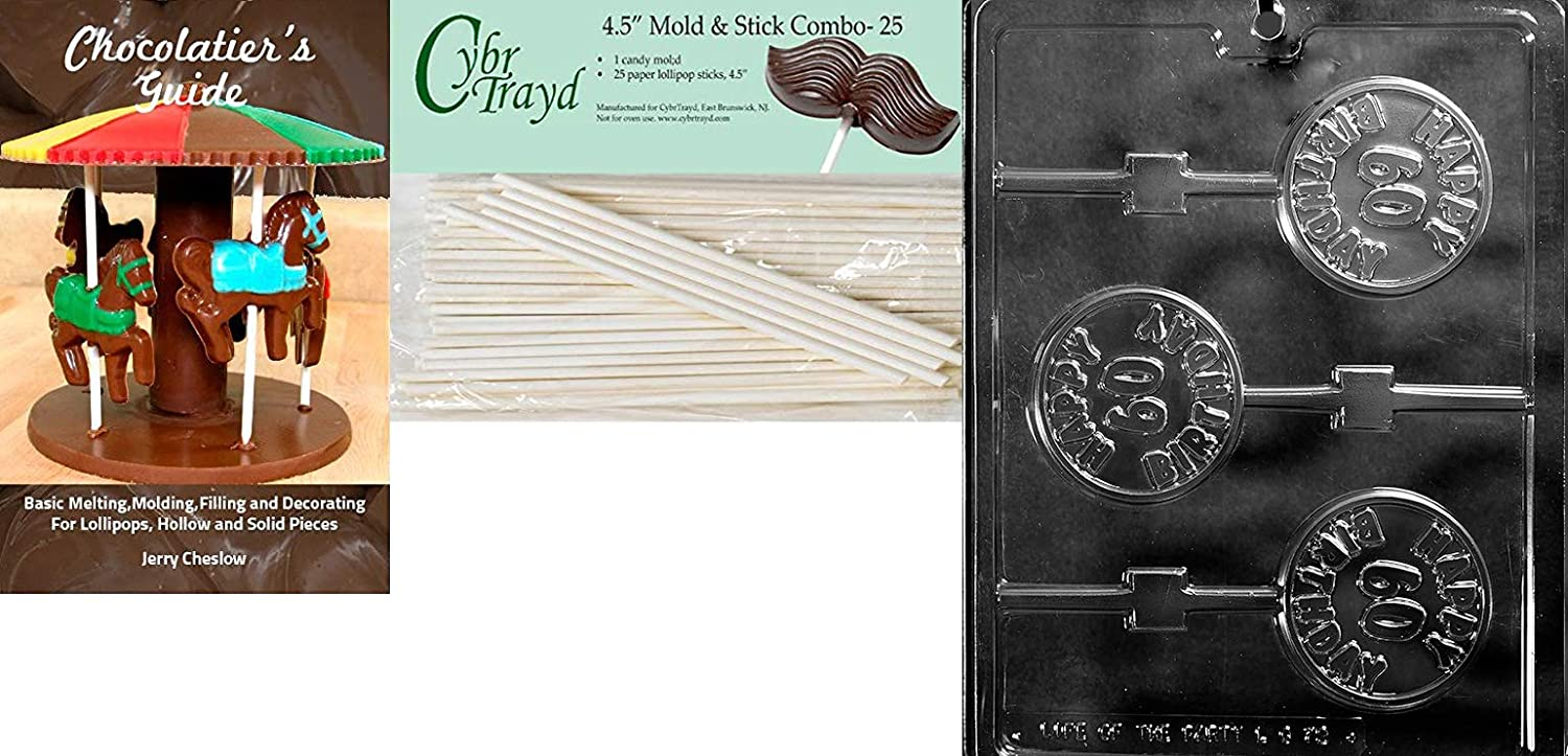 2-7//8 diameter x 3//8 deep Cybrtrayd Life of the Party 45StK50-L072 Happy 60th Birthday Lolly Chocolate Candy Mold w//Lollipop Supply Bundle and Instructions Clear