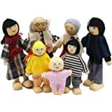PUCKWAY Loving Happy Family Dolls Set - Dollhouse Dolls Wooden Figures People for Kids Girls Children Pretend Gift