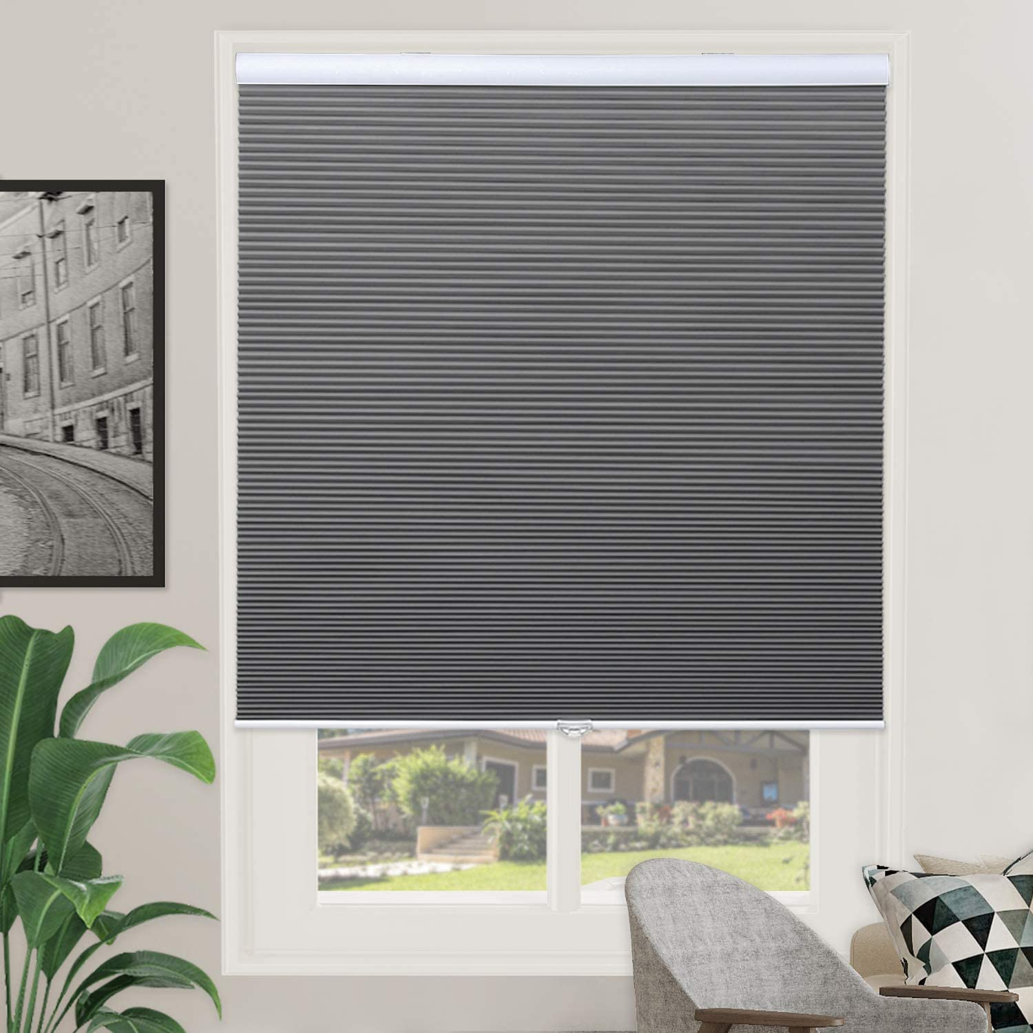 "Blackout Cellular Shades Single Cell Cordless Room Darkening Shade for Windows Bedroom, Thermal and Easy to Pull Down & Up, Gray White, Size: 36"" W x 64"" H"