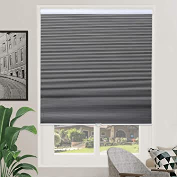 Amazon Com Blackout Cellular Shades Single Cell Cordless Room Darkening Shade For Windows Bedroom Thermal And Easy To Pull Down Up Gray White Size 39 W X 64 H Furniture Decor