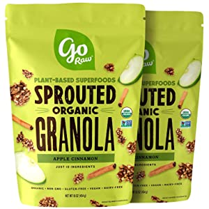 Go Raw Superfood Grain Free Granola, Apple Cinnamon, 16-oz. Bag | Vegan | Keto | Natural | Organic (Packaging May Vary), 1 Pound (Pack of 2) (00040075_ob)