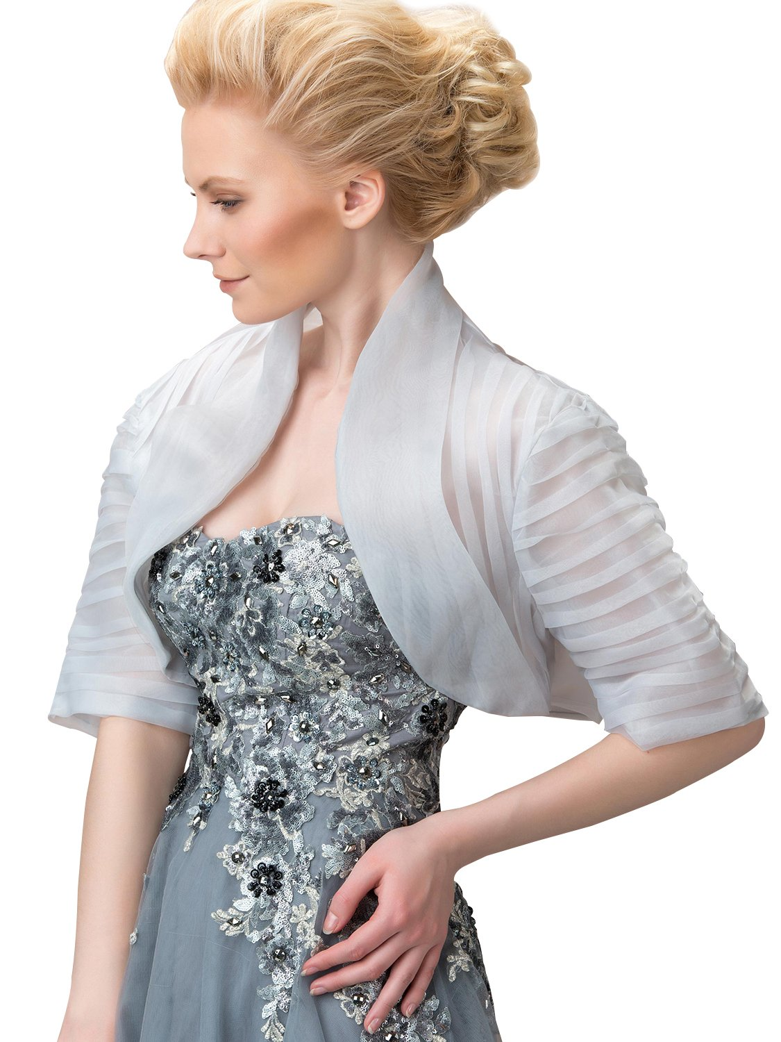 Tanpell Women's Generous Mandarin CollarHalf Sleeves Evening Bridal Wedding Jacket Silver US2