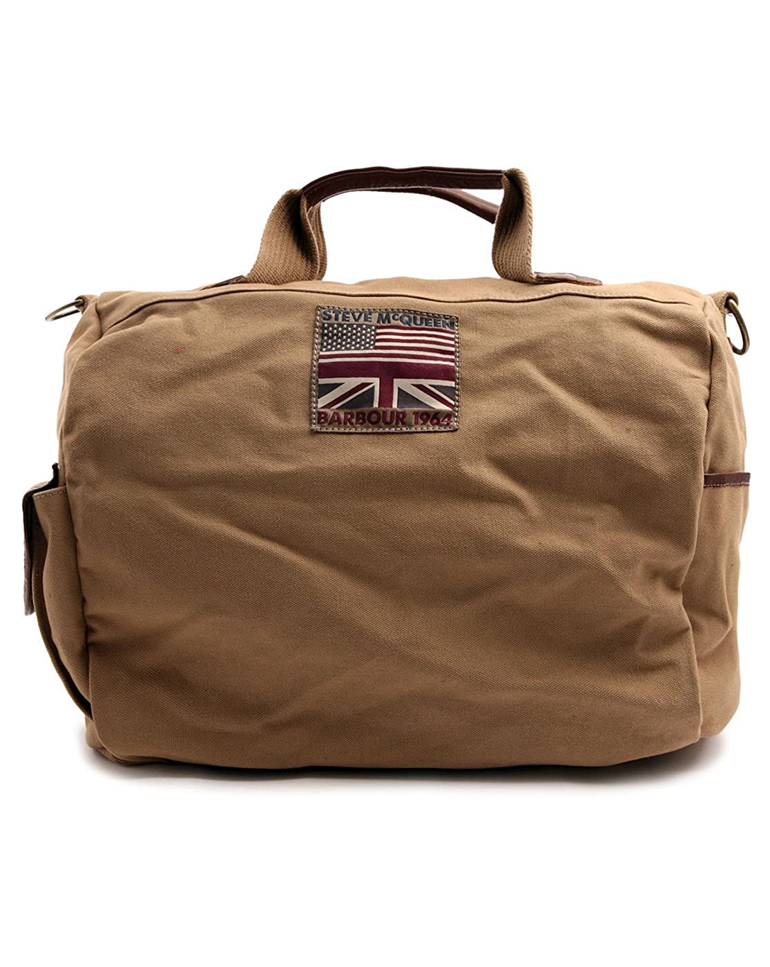 374006828e42 BARBOUR - Overnight Bags - Men - McQueen Sand Coloured Leather and Canvas  Weekend Bag for men - TU  Amazon.co.uk  Shoes   Bags