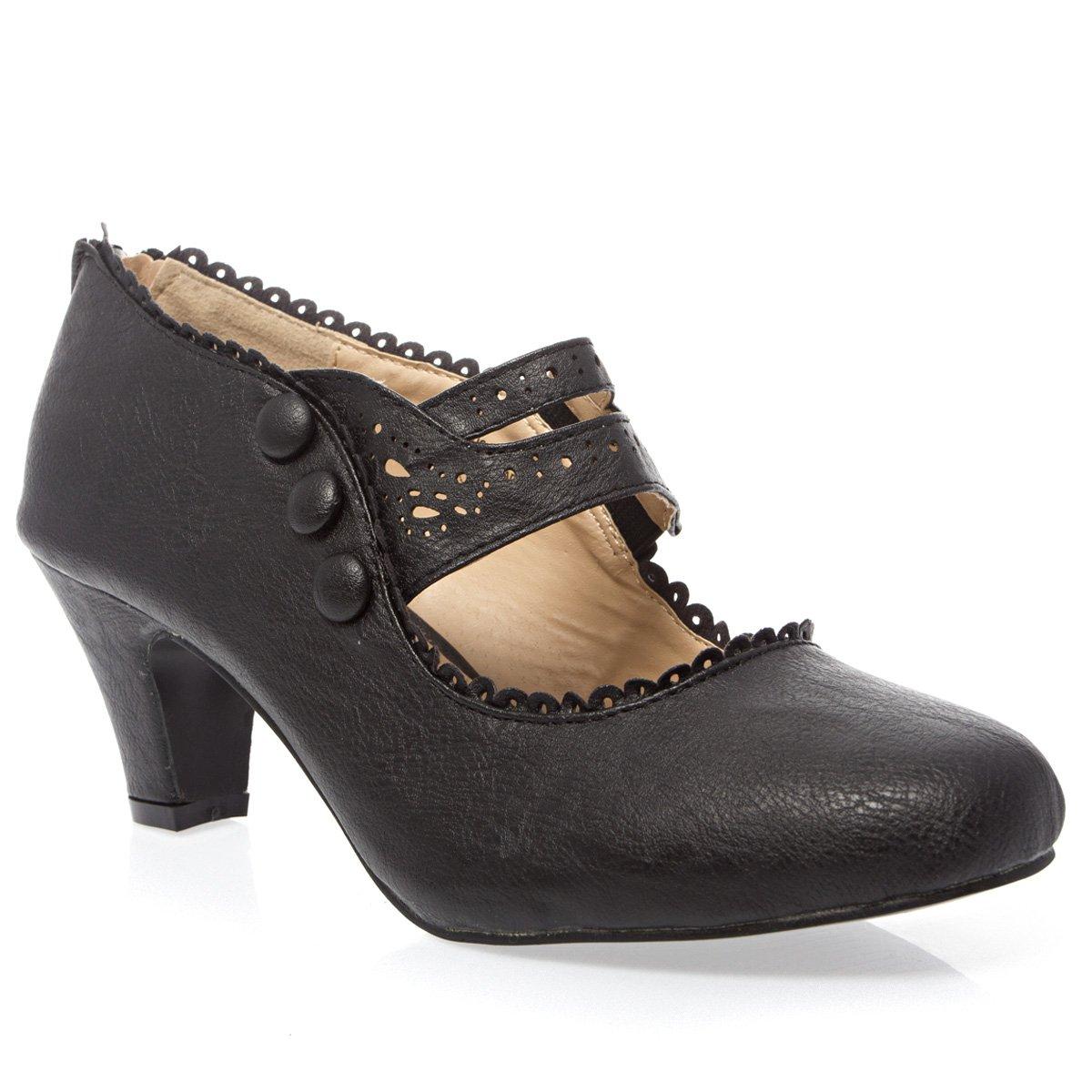 V-Luxury Womens 36-MINA4 Closed Toe Mary Jane High Heel Shoes, Black PU Leather, 10 B (M) US