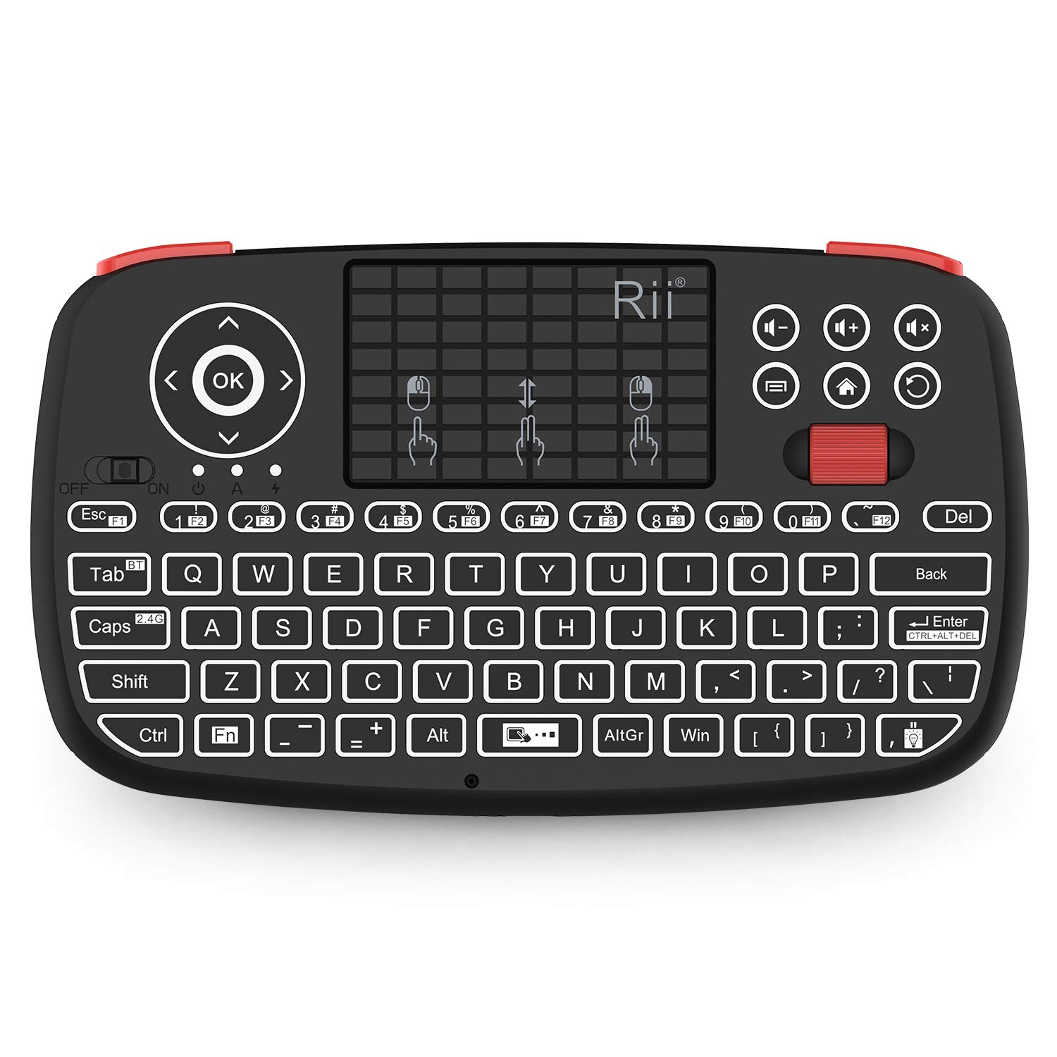 (2019 Upgrade) Rii i4 Mini Bluetooth Keyboard with Touchpad, Blacklit Portable Wireless Keyboard with 2.4G USB Dongle for Smartphones, PC, Tablet, Laptop TV Box iOS Android Windows Mac.Black 714tPSLcPAL