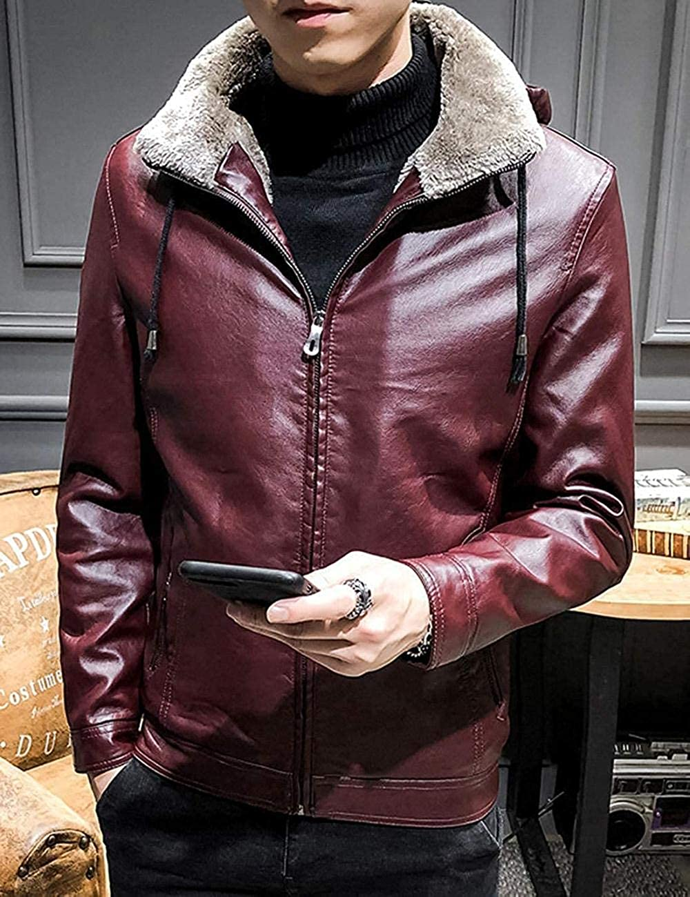 Youngaa Men's Sherpa Lined Full Zip Faux Leather Bomber Jacket with Fur Hood Red