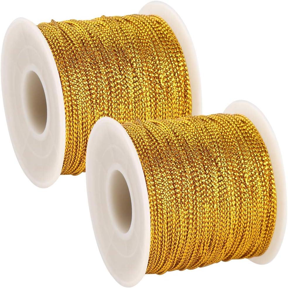 BTNOW 2 Spool Gold Metallic Cord Tinsel String Jewelry Braided Thread Gold Total Length 218 Yards// 656 Feet