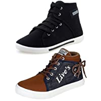 Ethics Men's Perfect Combo Pack of 2 Leather Casual Sneakers Shoes for Men's