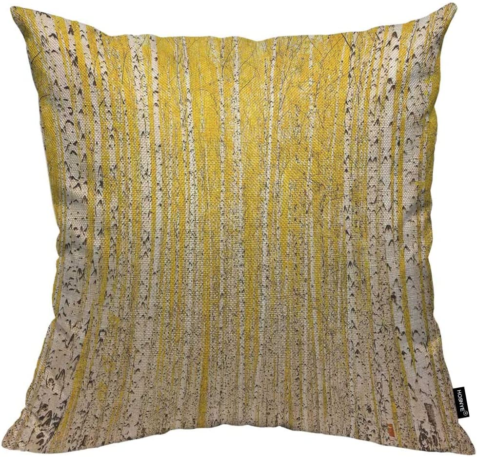 HOSNYE Autumn Birch Forest Throw Pillow Cushion Covers October Tree Yellow Fall Bark Decorative Square Accent Pillow Case 18 x18 inch