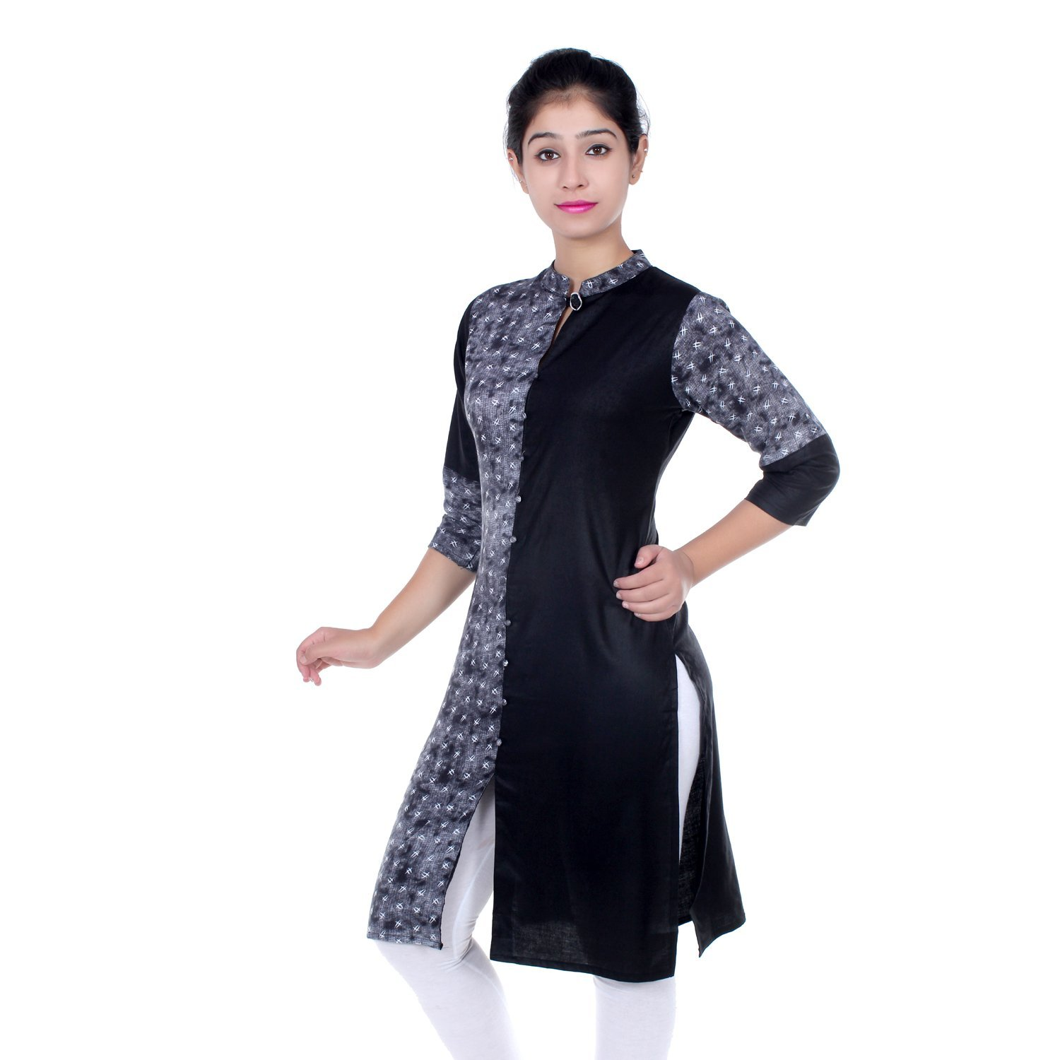 Chichi Indian Women Kurta Kurti 3/4 Sleeve Medium Size Plain with One Side Printed Straight Black-White Top by CHI (Image #3)