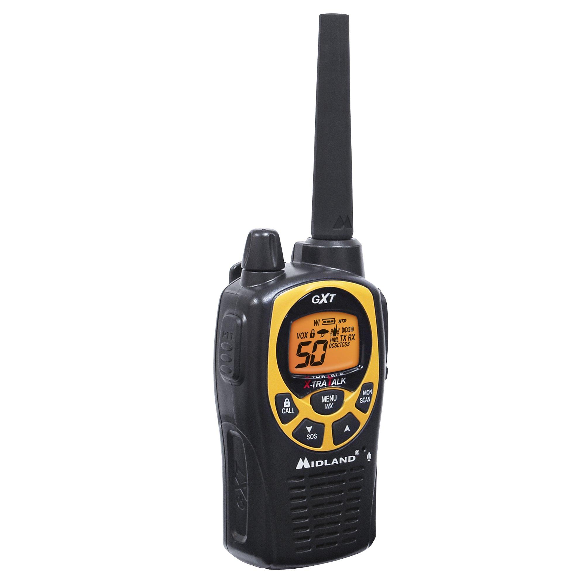 Midland - GXT1030VP4, 50 Channel GMRS Two-Way Radio - Up to 36 Mile Range Walkie Talkie, 142 Privacy Codes, Waterproof, NOAA Weather Scan + Alert (Pair Pack) (Black/Yellow) by Midland (Image #3)