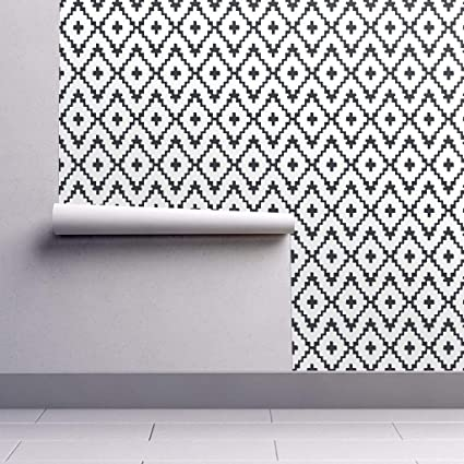 Peel And Stick Removable Wallpaper Black White Modern Aztec Southwest Chevron Black White Cross Tribal By Alison Janssen 24in X 60in Woven