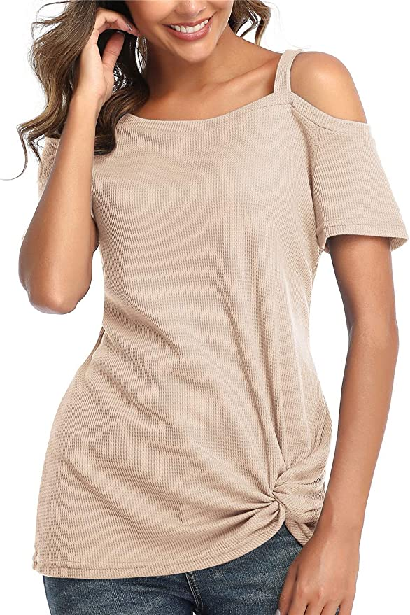 Amazon coupon code for Womens Shirts Cold Shoulder Tops Long Sleeve